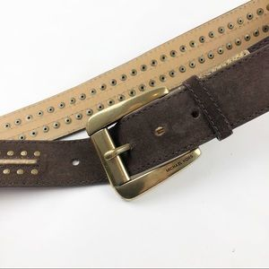 Michael Kors Genuine Leather Belt Brown Gold Small
